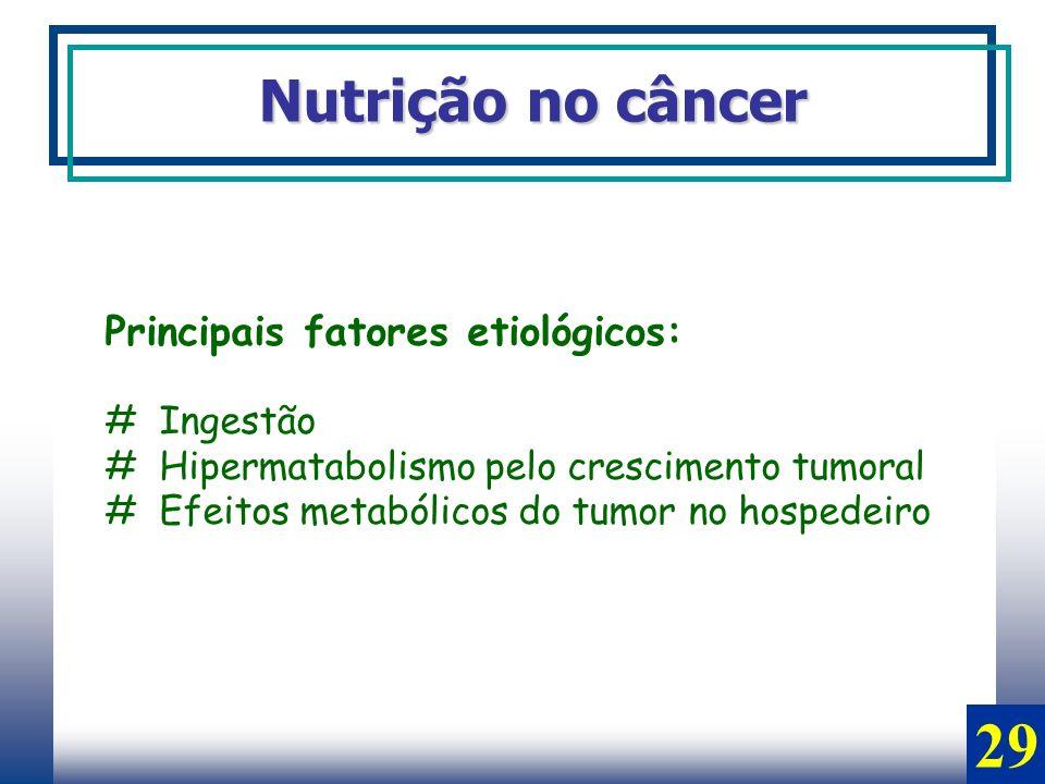 29 Nutrição no câncer Principais fatores etiológicos: # Ingestão