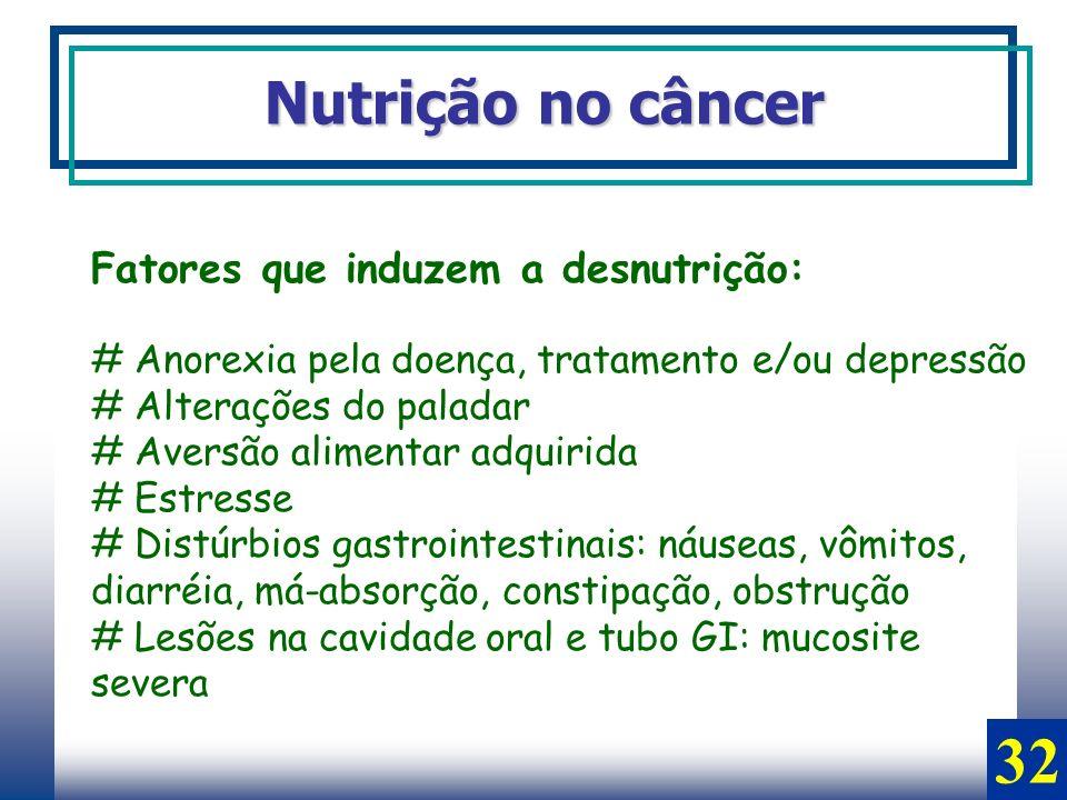 32 Nutrição no câncer Fatores que induzem a desnutrição: