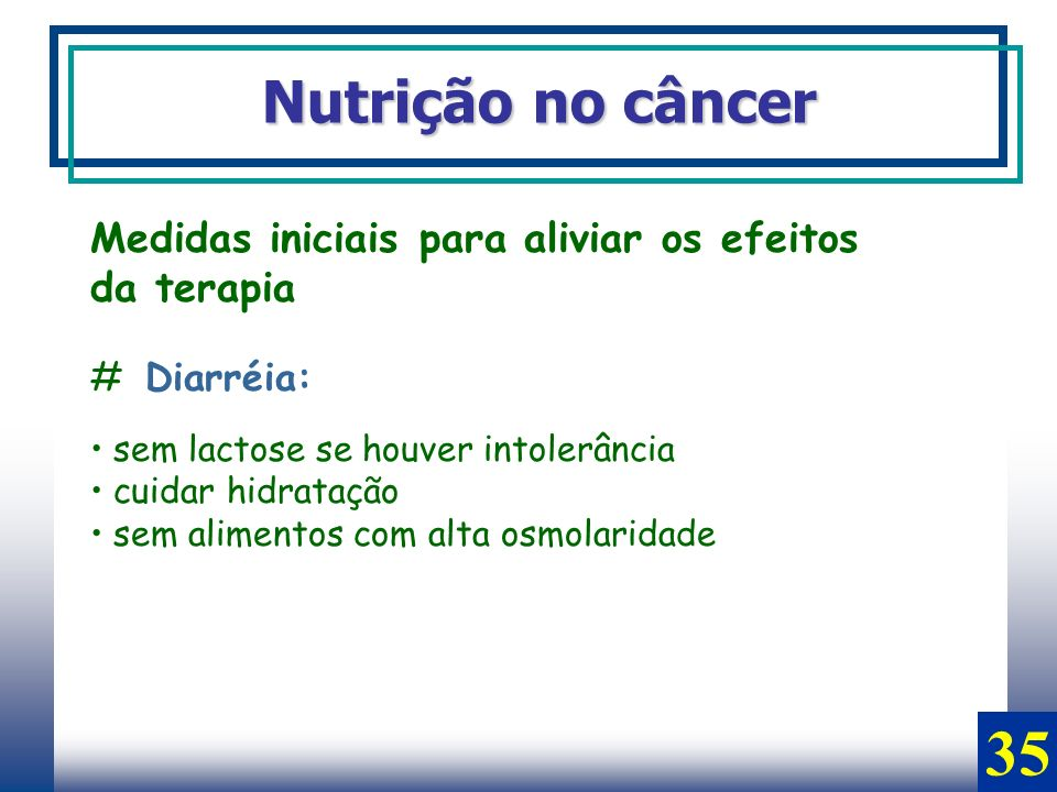 35 Nutrição no câncer Medidas iniciais para aliviar os efeitos