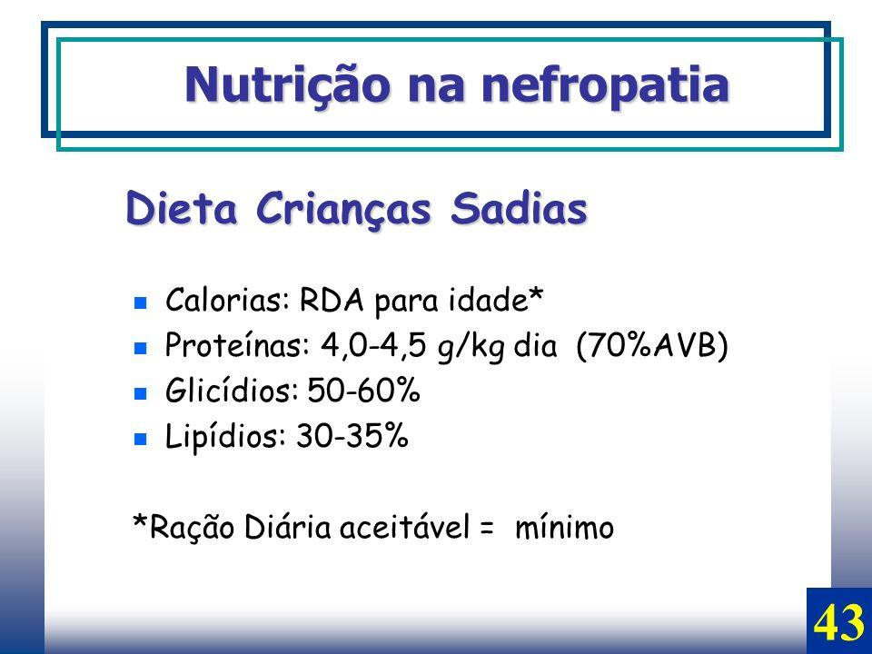43 Nutrição na nefropatia Dieta Crianças Sadias