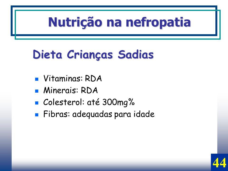 44 Nutrição na nefropatia Dieta Crianças Sadias Vitaminas: RDA