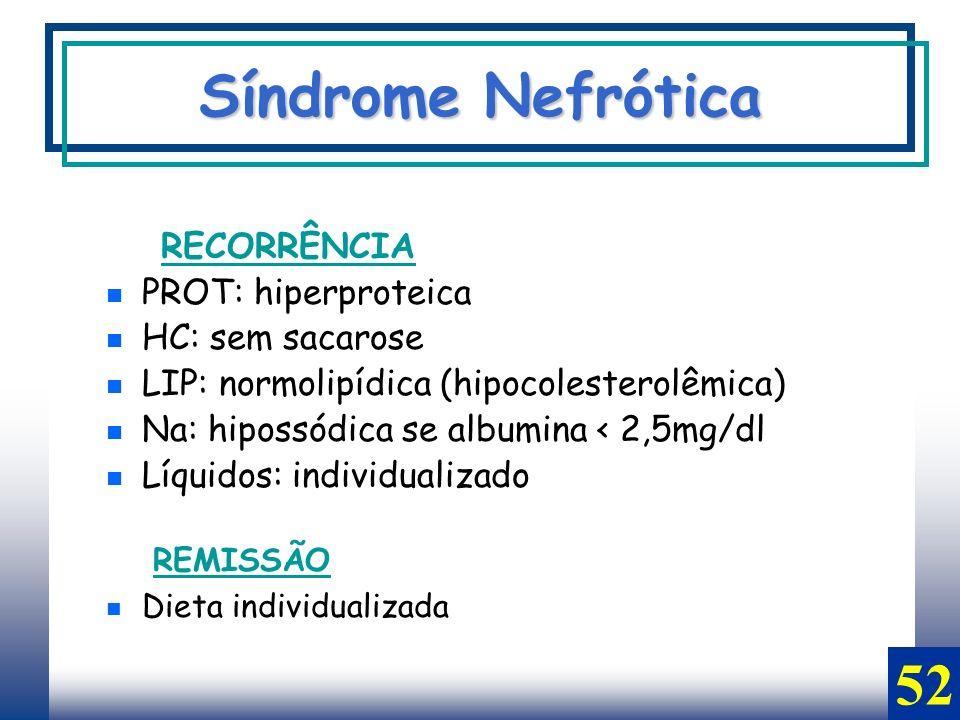 Síndrome Nefrótica 52 PROT: hiperproteica HC: sem sacarose