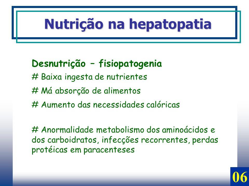06 Nutrição na hepatopatia Desnutrição – fisiopatogenia