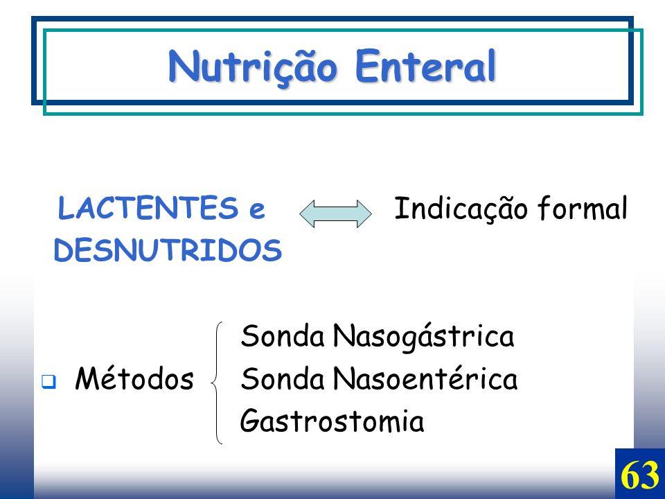Nutrição Enteral 63 LACTENTES e Indicação formal DESNUTRIDOS