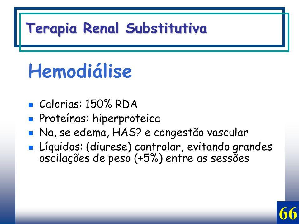 Hemodiálise 66 Terapia Renal Substitutiva Calorias: 150% RDA