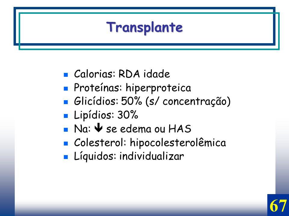 67 Transplante Calorias: RDA idade Proteínas: hiperproteica