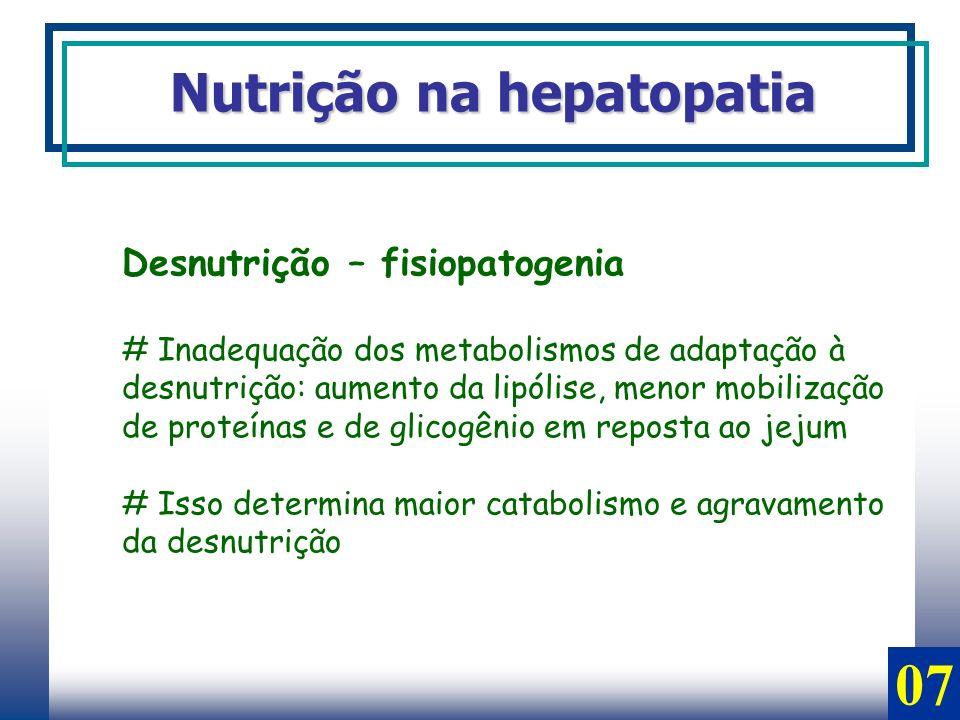 07 Nutrição na hepatopatia Desnutrição – fisiopatogenia