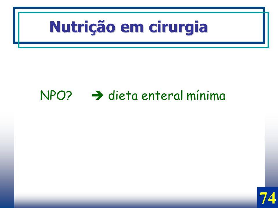Nutrição em cirurgia NPO  dieta enteral mínima 74