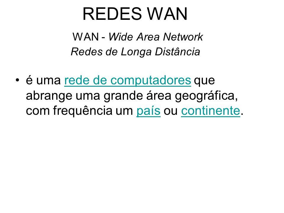 REDES WAN WAN - Wide Area Network Redes de Longa Distância
