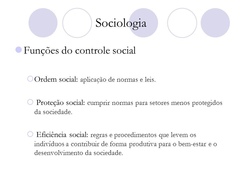 Sociologia Funções do controle social