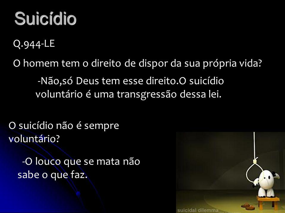 Suicídio Q.944-LE O homem tem o direito de dispor da sua própria vida