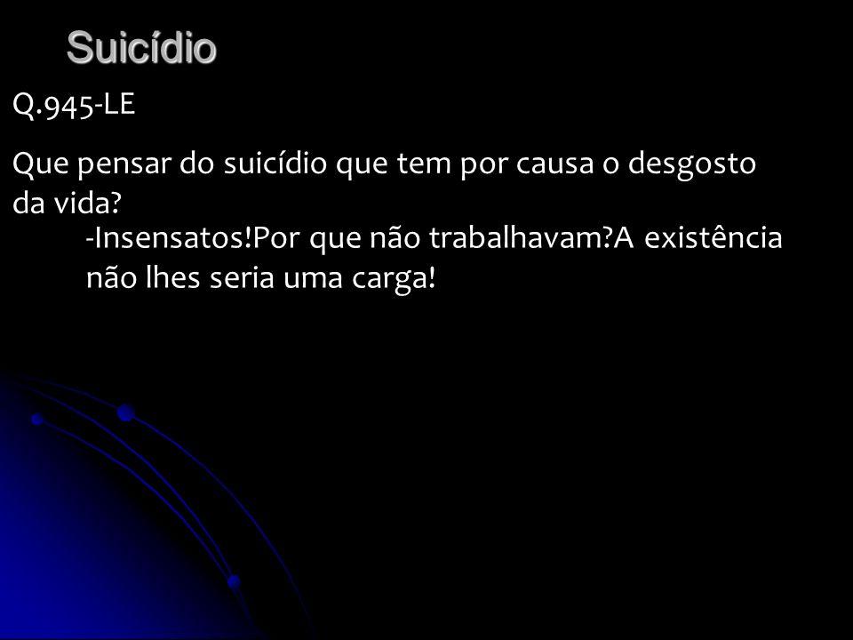 Suicídio Q.945-LE. Que pensar do suicídio que tem por causa o desgosto da vida