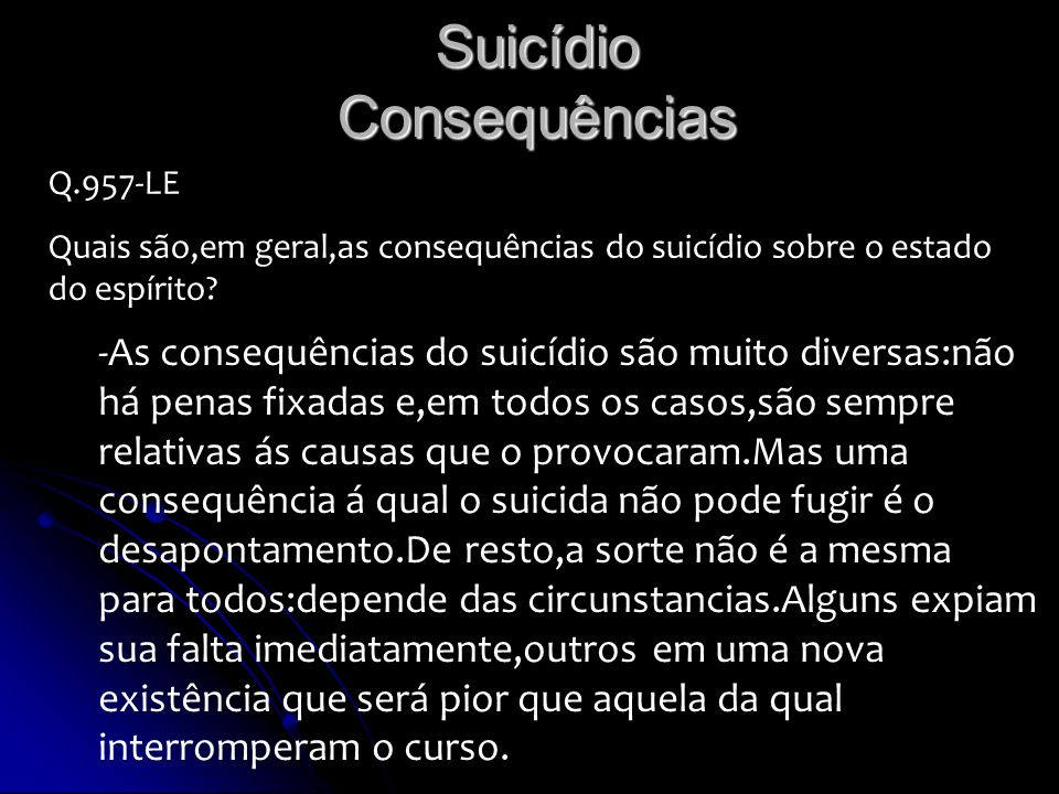 Suicídio Consequências
