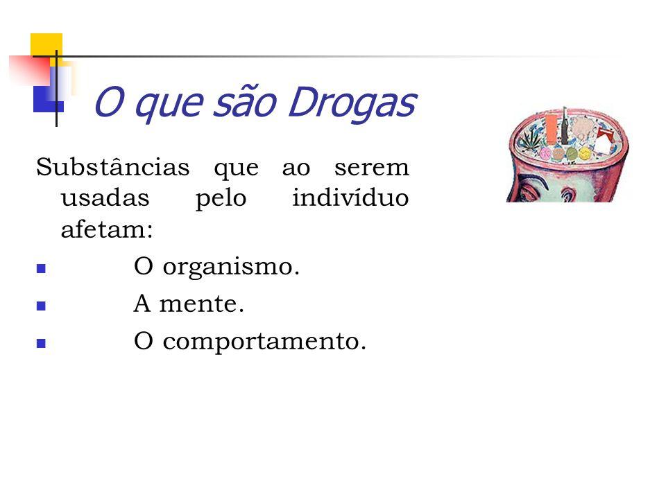 O que são DrogasSubstâncias que ao serem usadas pelo indivíduo afetam: O organismo. A mente.