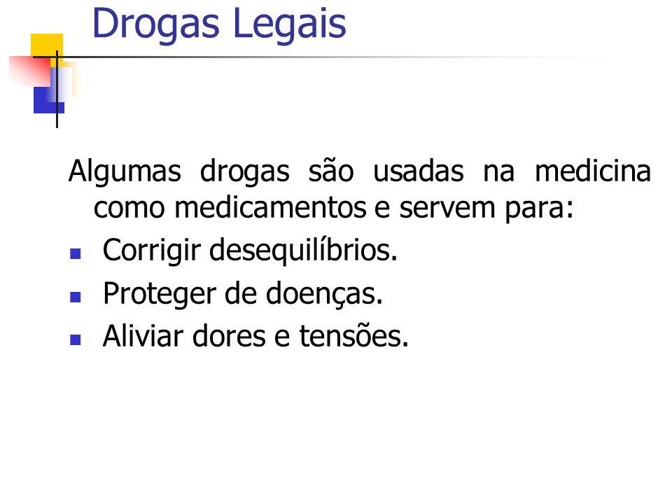 Drogas Legais Algumas drogas são usadas na medicina como medicamentos e servem para: Corrigir desequilíbrios.