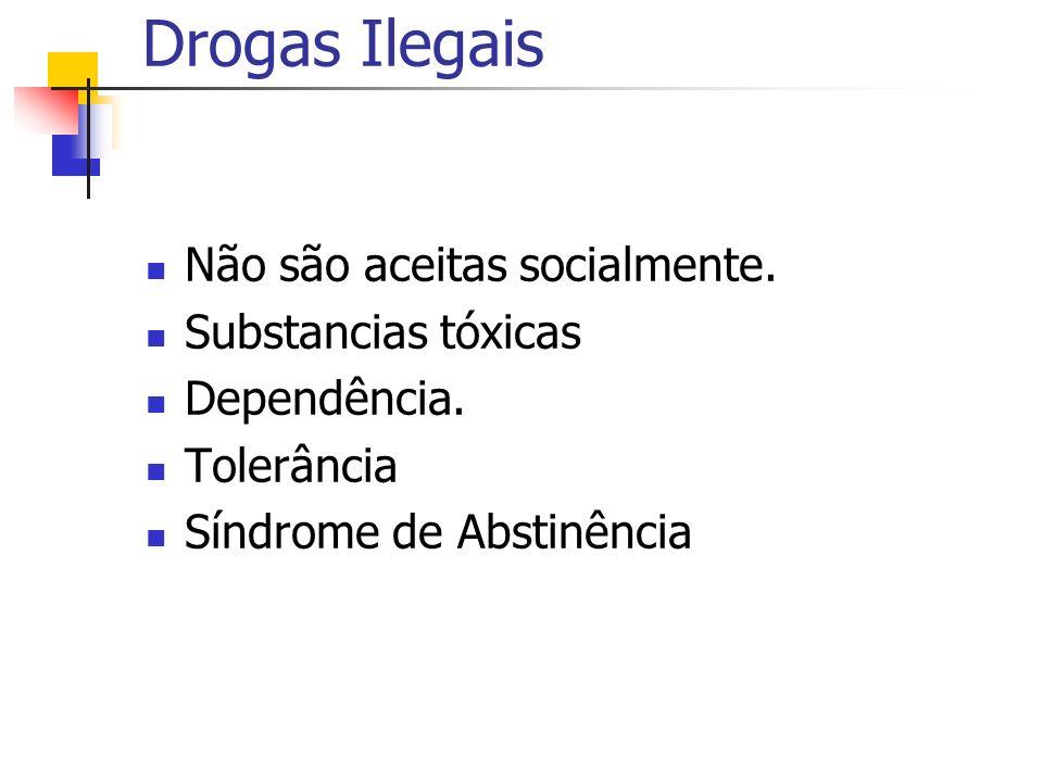 Drogas Ilegais Não são aceitas socialmente. Substancias tóxicas