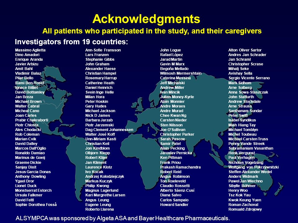 AcknowledgmentsAll patients who participated in the study, and their caregivers. Investigators from 19 countries: