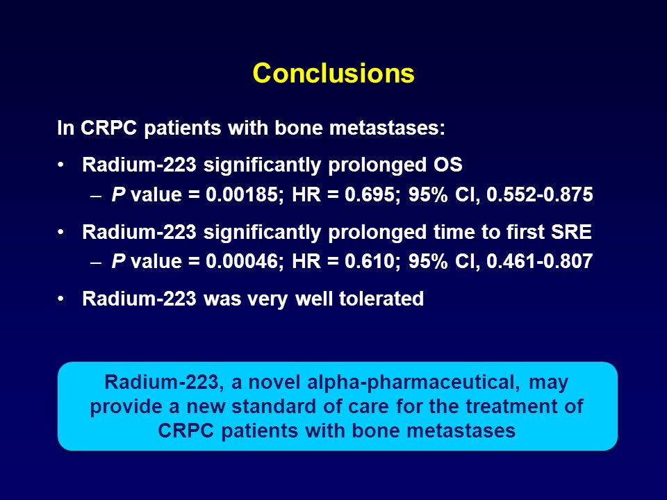 Conclusions In CRPC patients with bone metastases: