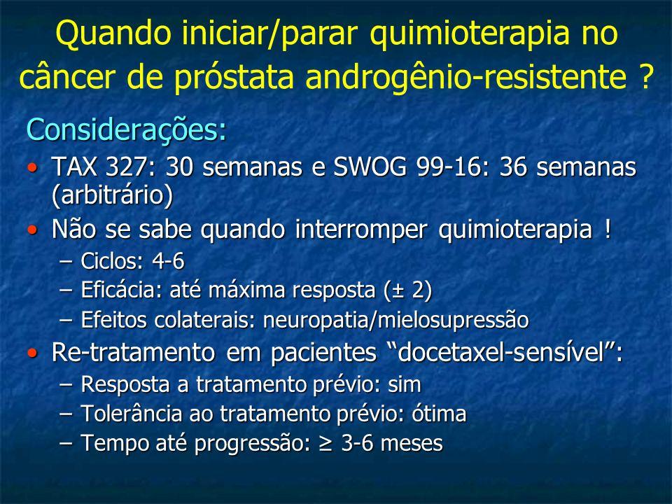 Quando iniciar/parar quimioterapia no câncer de próstata androgênio-resistente