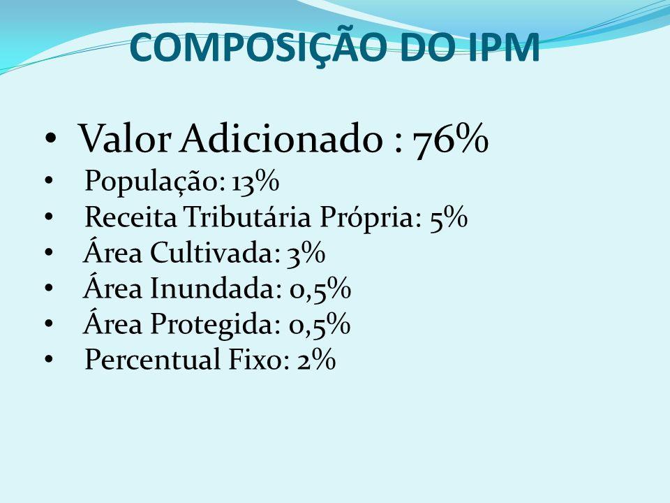 COMPOSIÇÃO DO IPM Valor Adicionado : 76% População: 13%