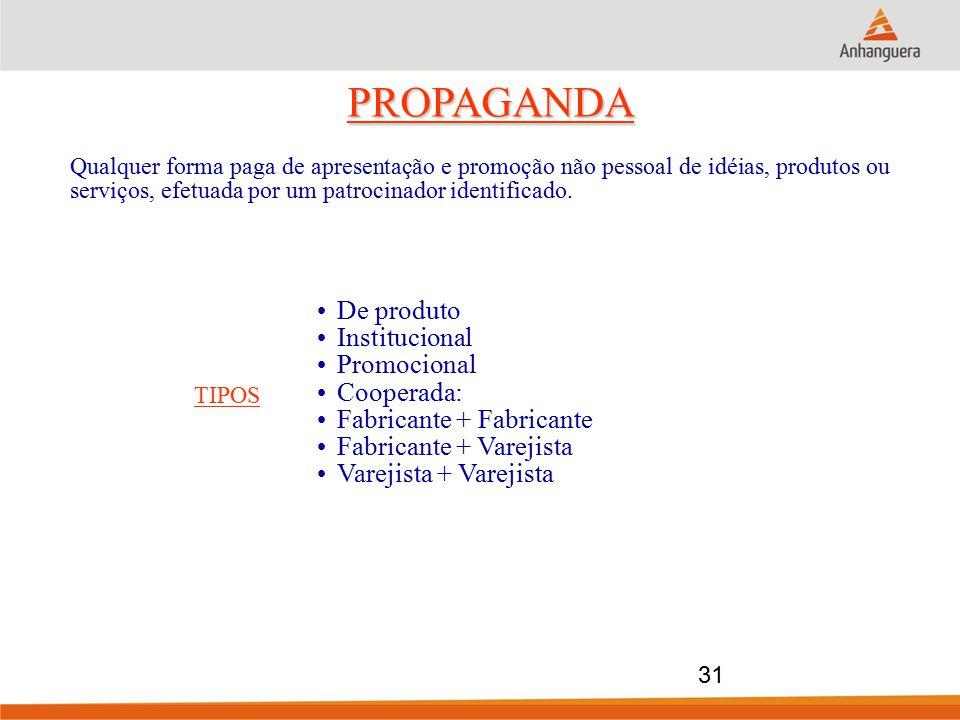 PROPAGANDA De produto Institucional Promocional Cooperada: