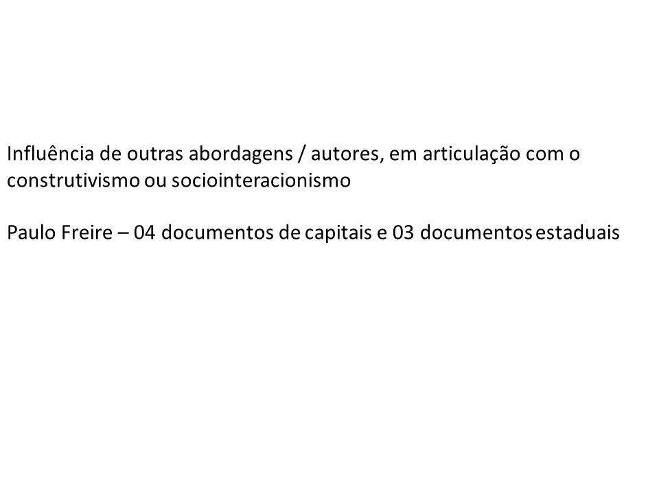 Influência de outras abordagens / autores, em articulação com o construtivismo ou sociointeracionismo Paulo Freire – 04 documentos de capitais e 03 documentos estaduais