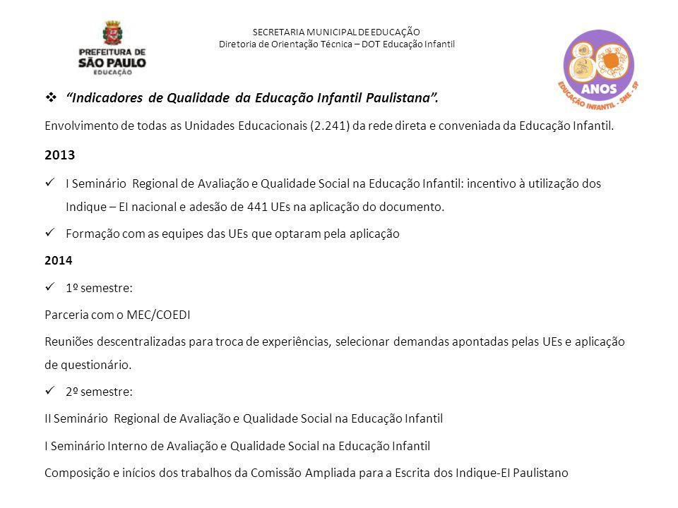 Indicadores de Qualidade da Educação Infantil Paulistana .