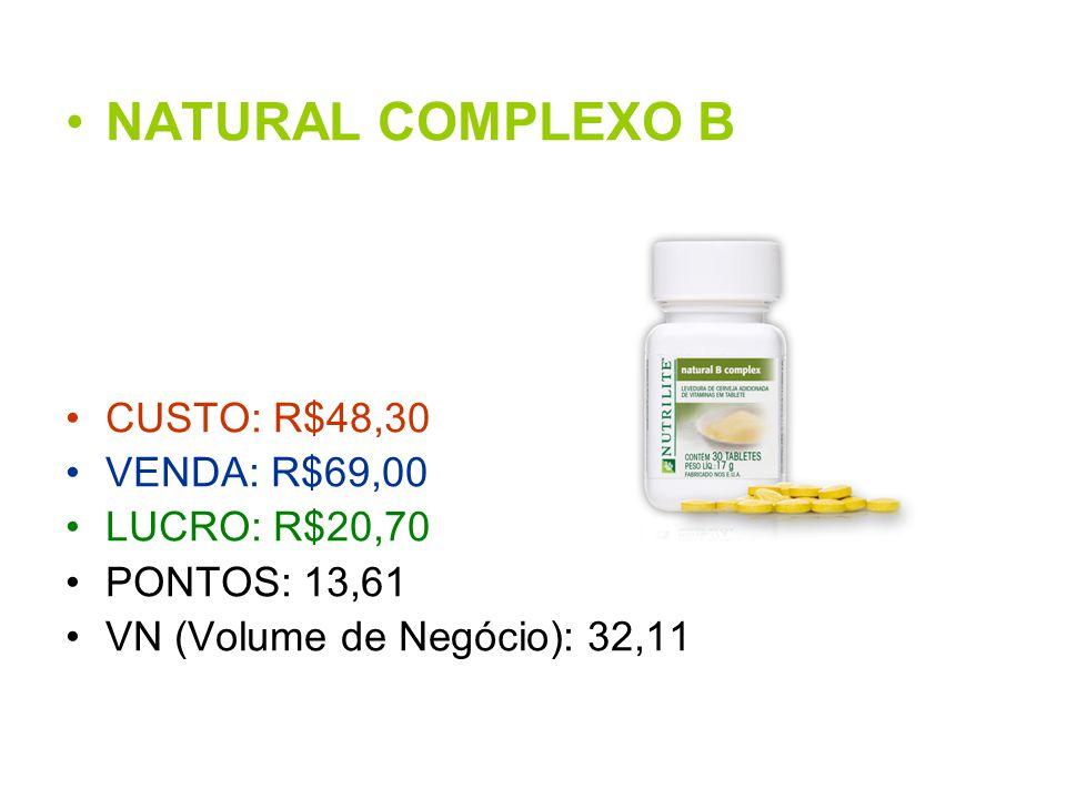 NATURAL COMPLEXO B CUSTO: R$48,30 VENDA: R$69,00 LUCRO: R$20,70