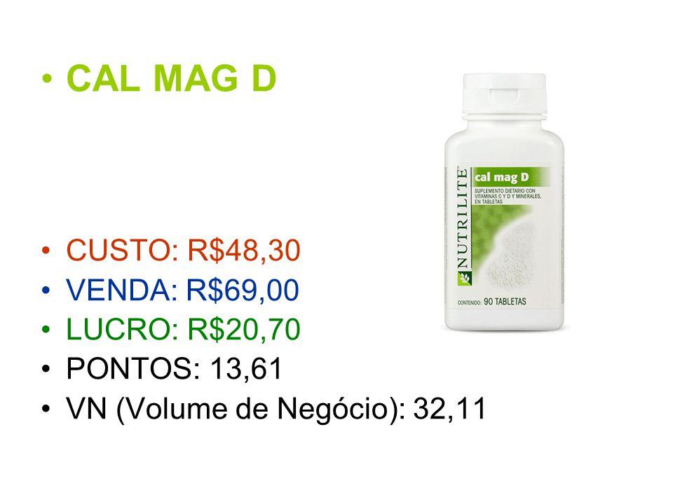 CAL MAG D CUSTO: R$48,30 VENDA: R$69,00 LUCRO: R$20,70 PONTOS: 13,61