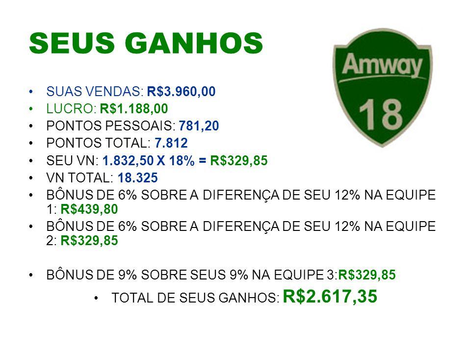TOTAL DE SEUS GANHOS: R$2.617,35