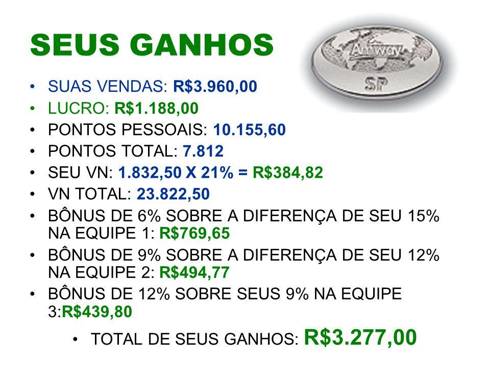 TOTAL DE SEUS GANHOS: R$3.277,00
