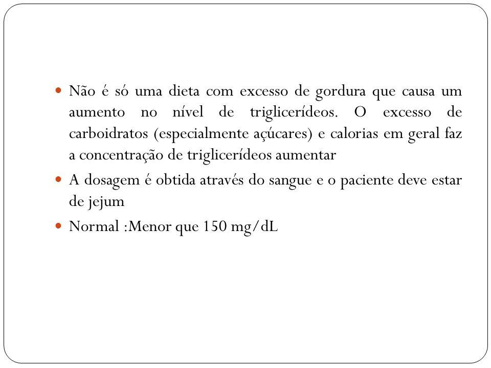 Não é só uma dieta com excesso de gordura que causa um aumento no nível de triglicerídeos. O excesso de carboidratos (especialmente açúcares) e calorias em geral faz a concentração de triglicerídeos aumentar