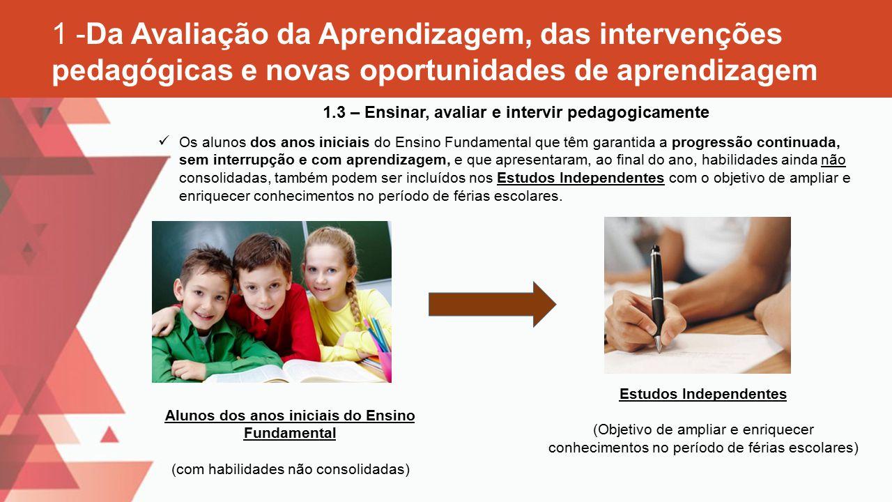1 -Da Avaliação da Aprendizagem, das intervenções pedagógicas e novas oportunidades de aprendizagem