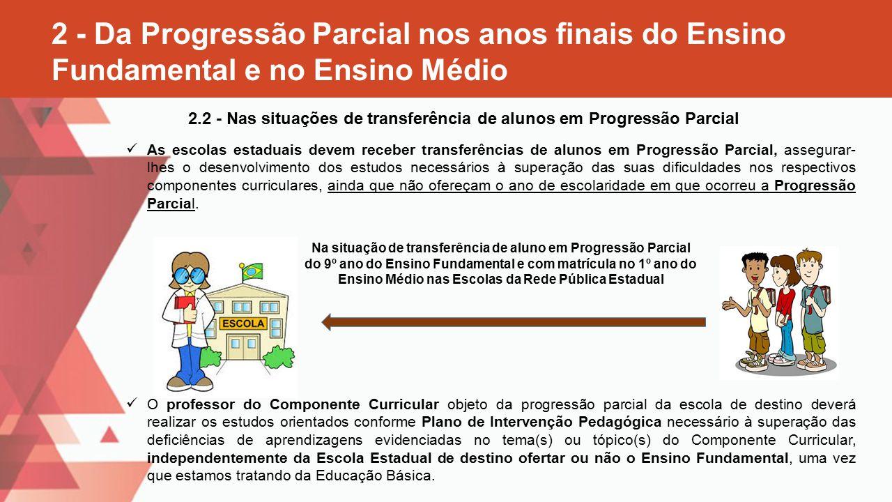 2.2 - Nas situações de transferência de alunos em Progressão Parcial
