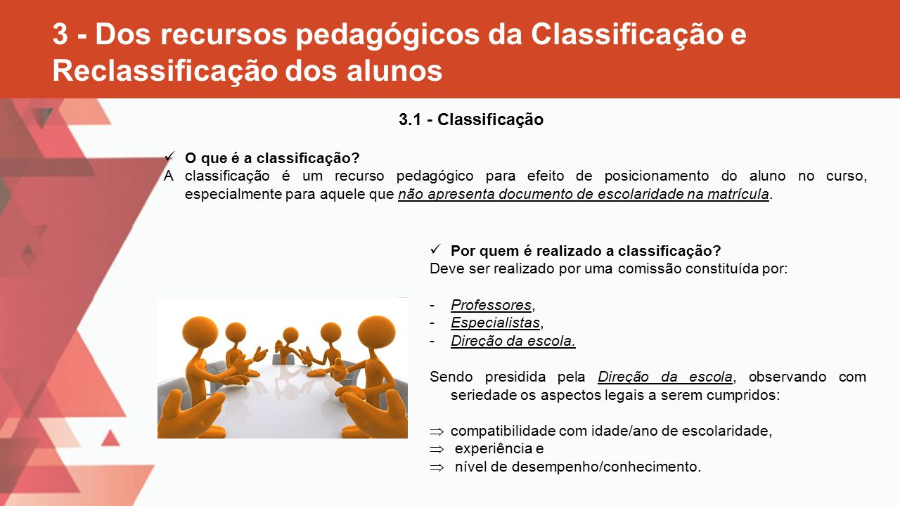 3 - Dos recursos pedagógicos da Classificação e Reclassificação dos alunos
