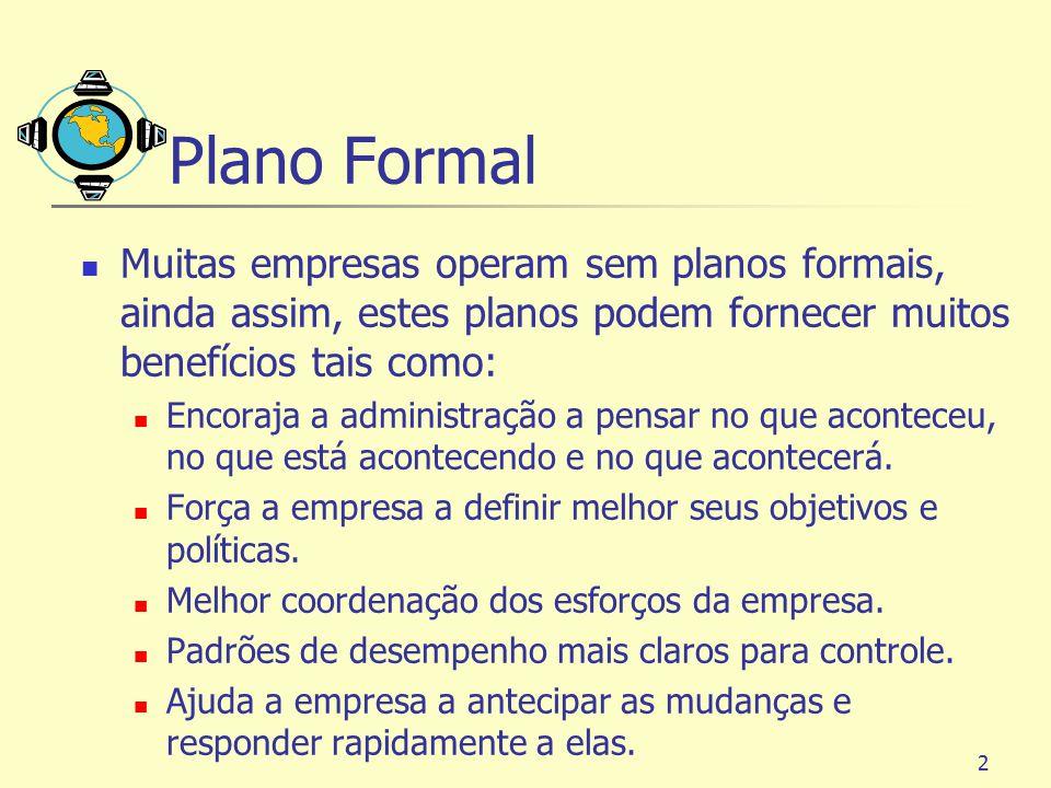 Plano Formal Muitas empresas operam sem planos formais, ainda assim, estes planos podem fornecer muitos benefícios tais como: