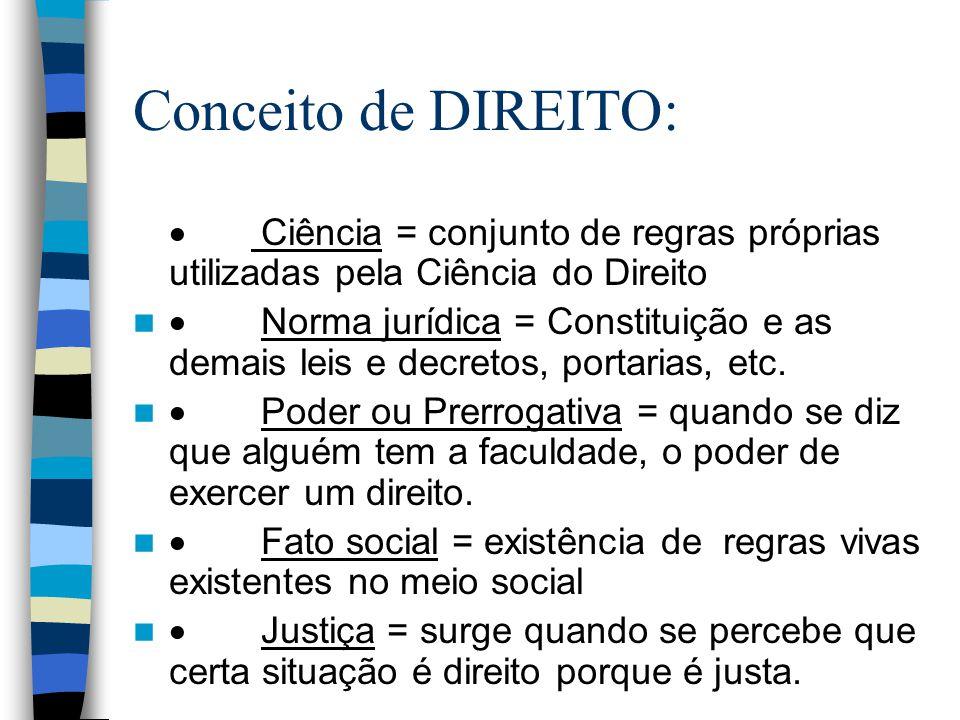Conceito de DIREITO: · Ciência = conjunto de regras próprias utilizadas pela Ciência do Direito.