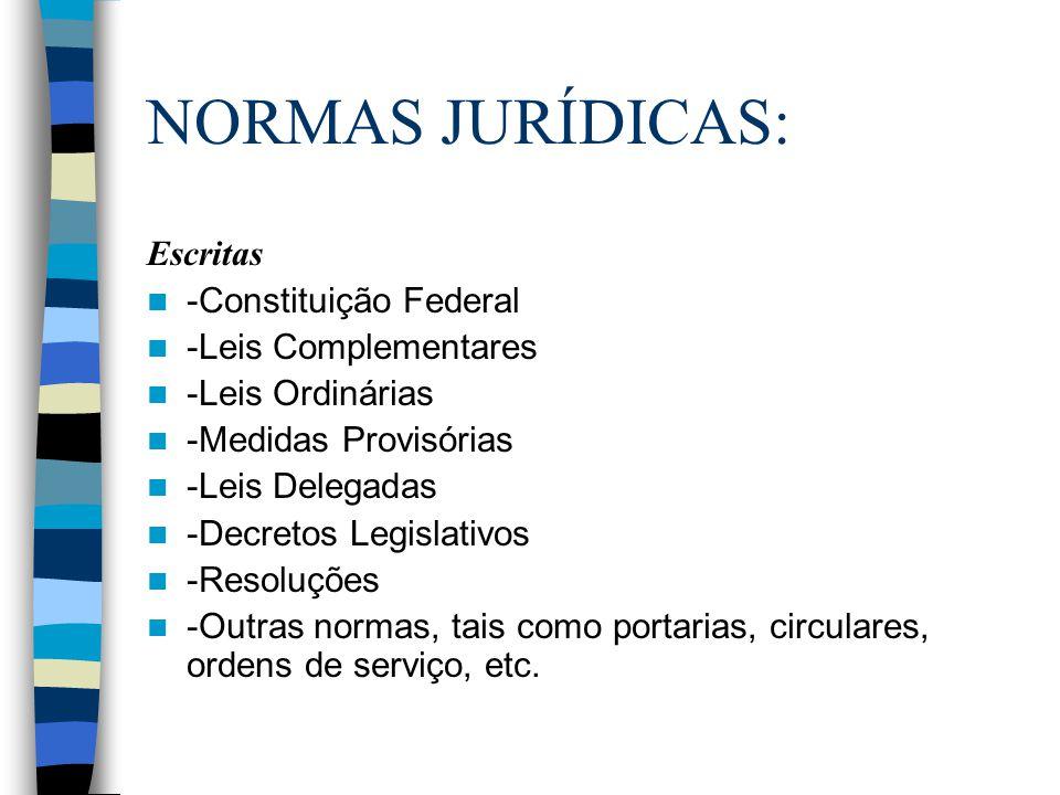 NORMAS JURÍDICAS: Escritas -Constituição Federal -Leis Complementares