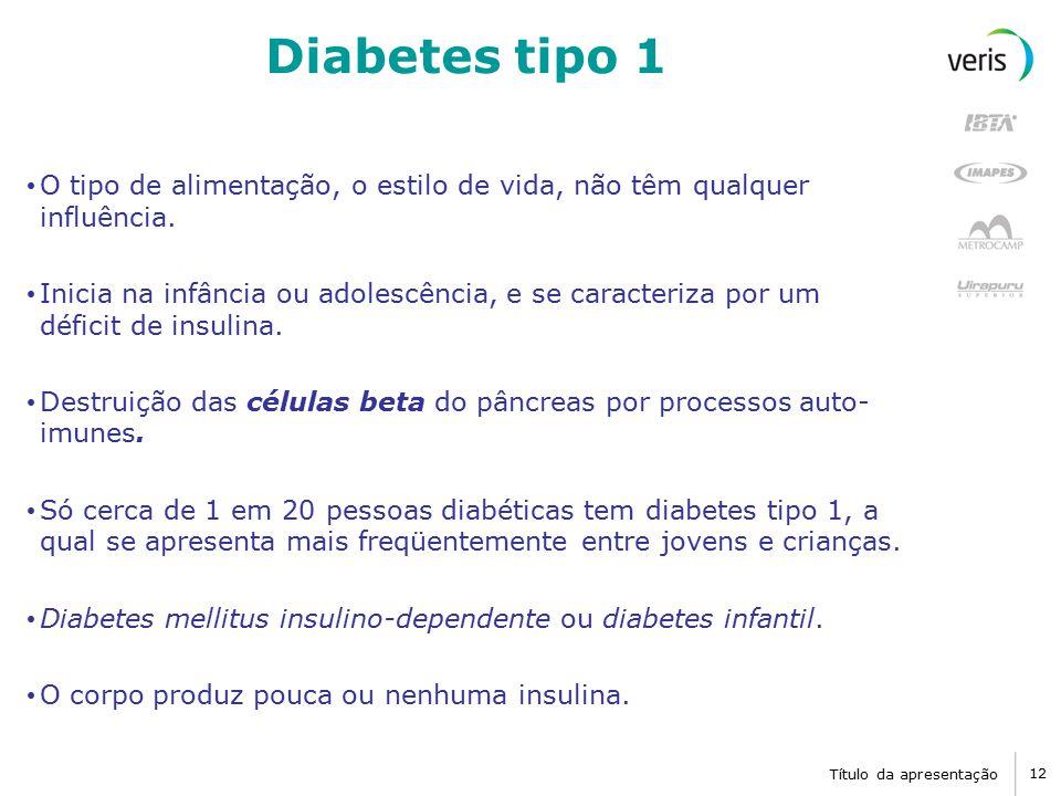 Diabetes tipo 1 O tipo de alimentação, o estilo de vida, não têm qualquer influência.