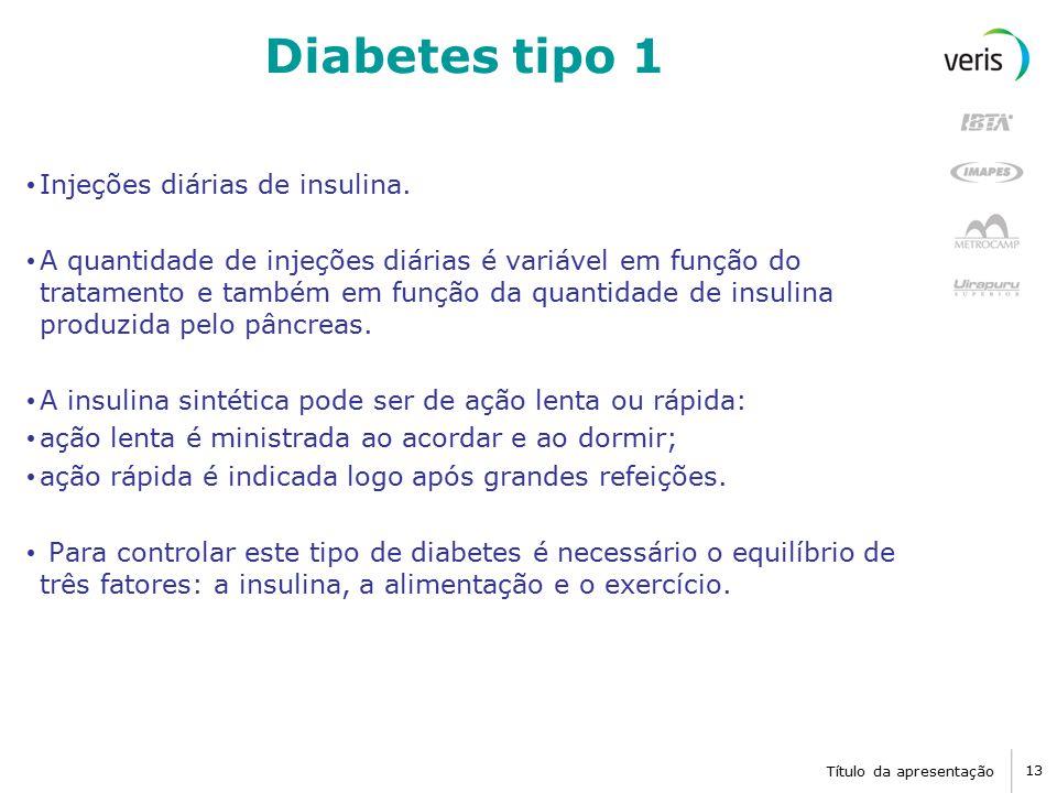 Diabetes tipo 1 Injeções diárias de insulina.
