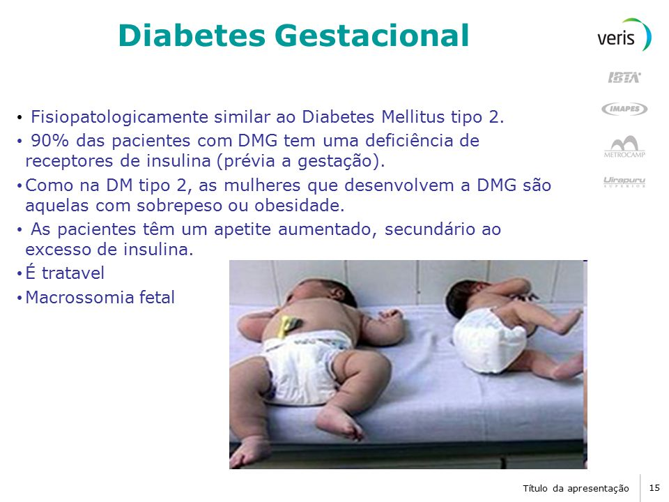 Diabetes Gestacional Fisiopatologicamente similar ao Diabetes Mellitus tipo 2.