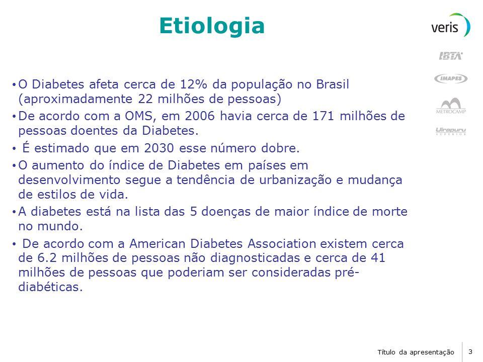 Etiologia O Diabetes afeta cerca de 12% da população no Brasil (aproximadamente 22 milhões de pessoas)