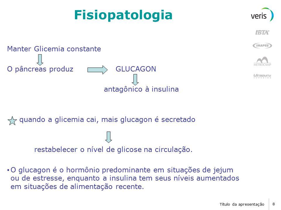 Fisiopatologia Manter Glicemia constante O pâncreas produz GLUCAGON