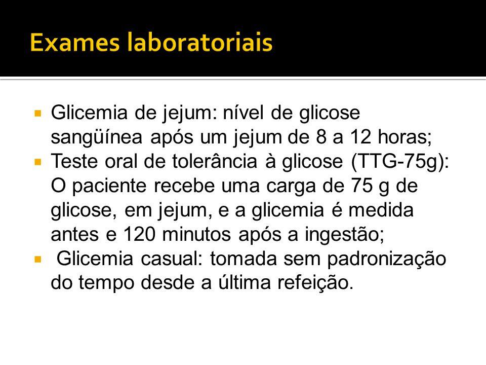 Exames laboratoriais Glicemia de jejum: nível de glicose sangüínea após um jejum de 8 a 12 horas;