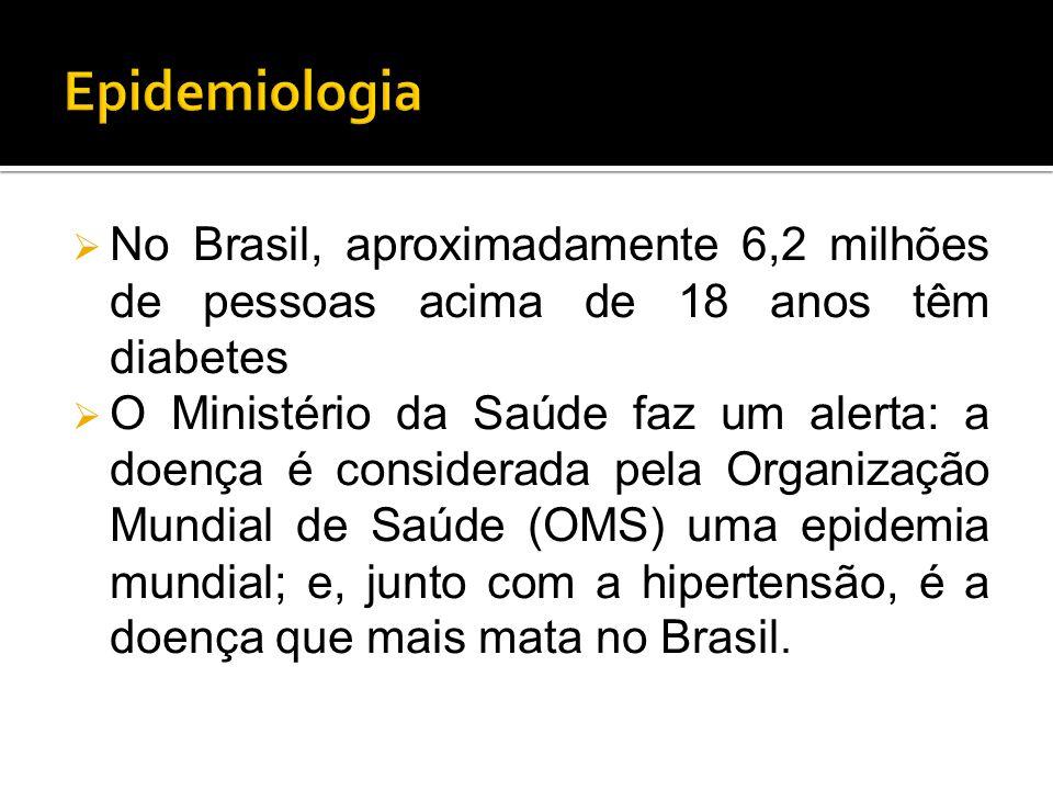 Epidemiologia No Brasil, aproximadamente 6,2 milhões de pessoas acima de 18 anos têm diabetes.