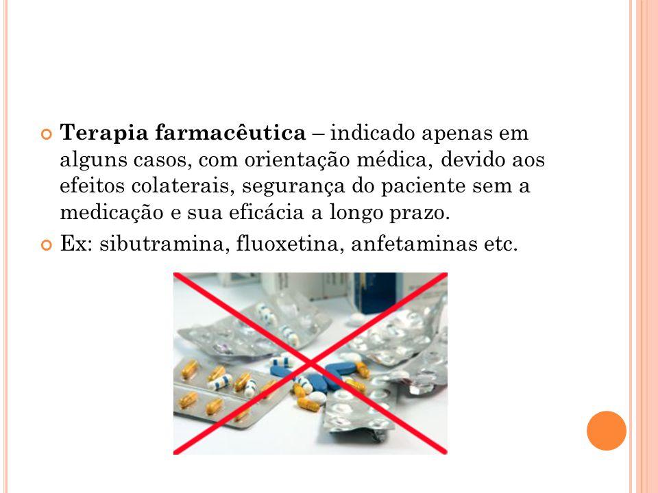 Terapia farmacêutica – indicado apenas em alguns casos, com orientação médica, devido aos efeitos colaterais, segurança do paciente sem a medicação e sua eficácia a longo prazo.