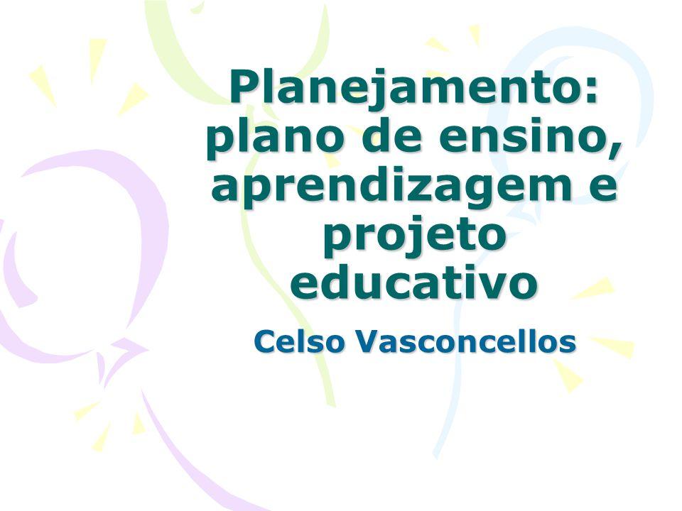 Planejamento: plano de ensino, aprendizagem e projeto educativo