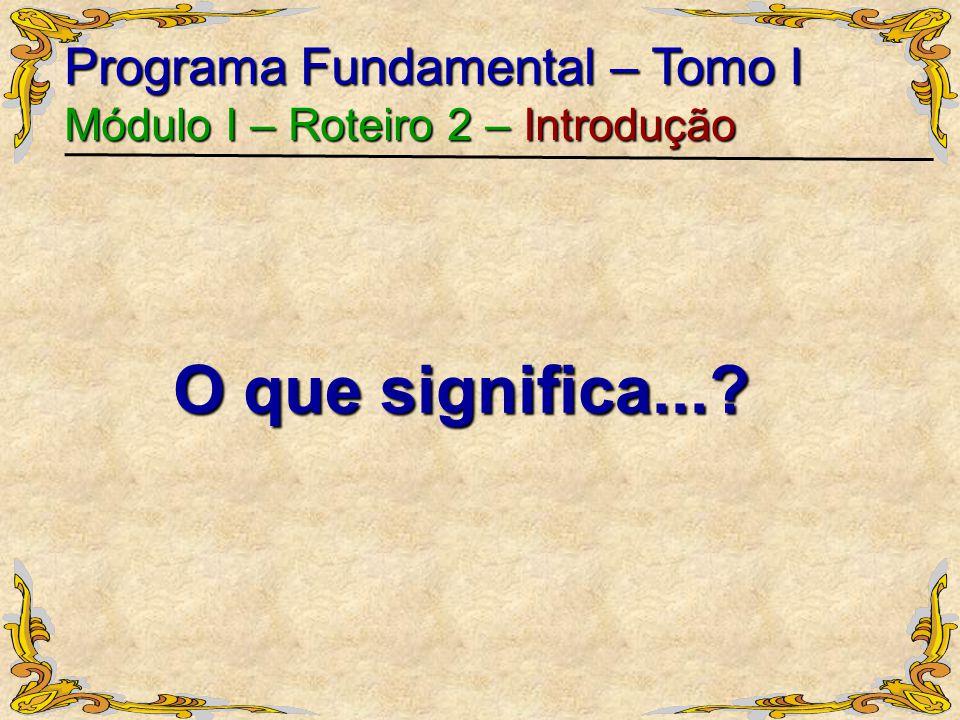 O que significa... Programa Fundamental – Tomo I