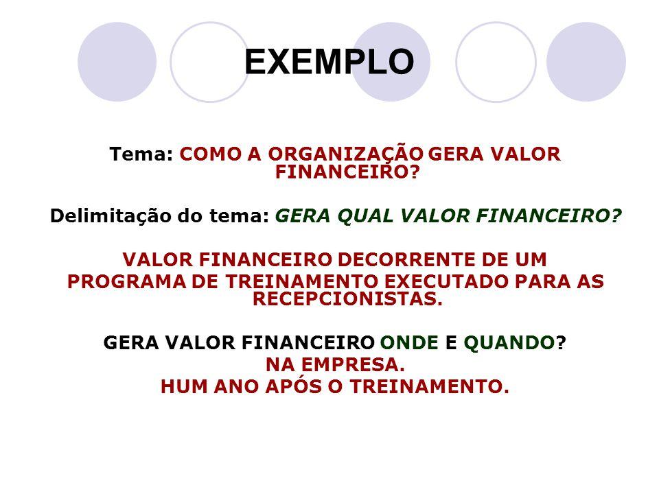 EXEMPLO Tema: COMO A ORGANIZAÇÃO GERA VALOR FINANCEIRO