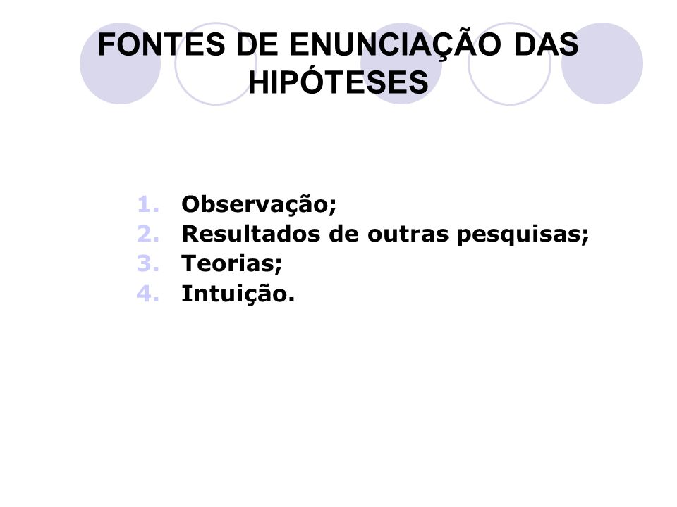 FONTES DE ENUNCIAÇÃO DAS HIPÓTESES